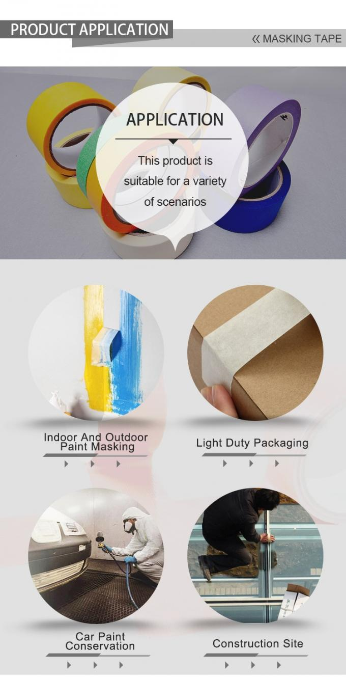 Multi Colored High Temperature Masking Tape Hot Melt Adhesive Peels Off Easily