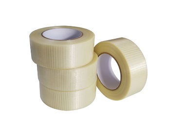 Single Side Bi - Directional Filament Fiberglass  Mesh Tape For Heavy Duty Packaging