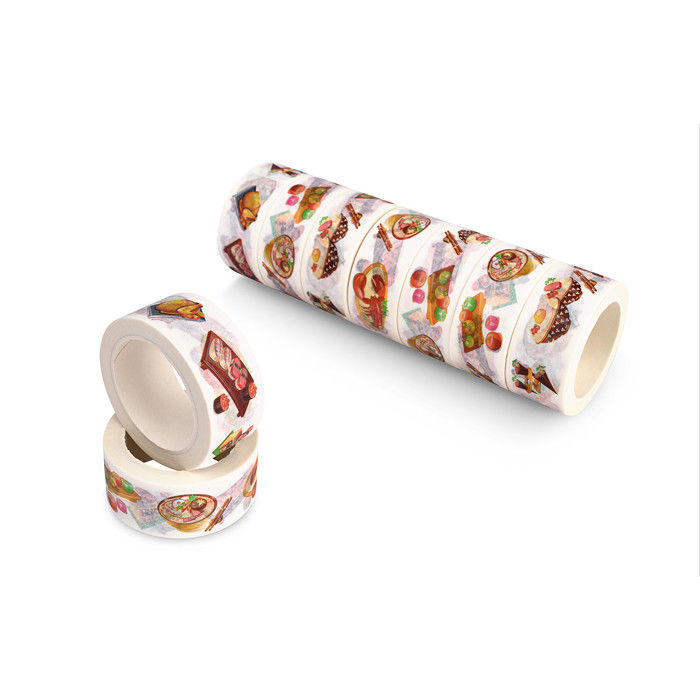 Coloured Floral Washi Paper Tape , Thin Patterned Craft Tape Rubber Adhesive