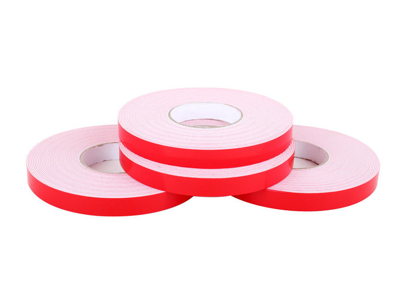 Solvent Glue PE Foam Double Sided Self Adhesive Tape Red Silicon Paper No Printing